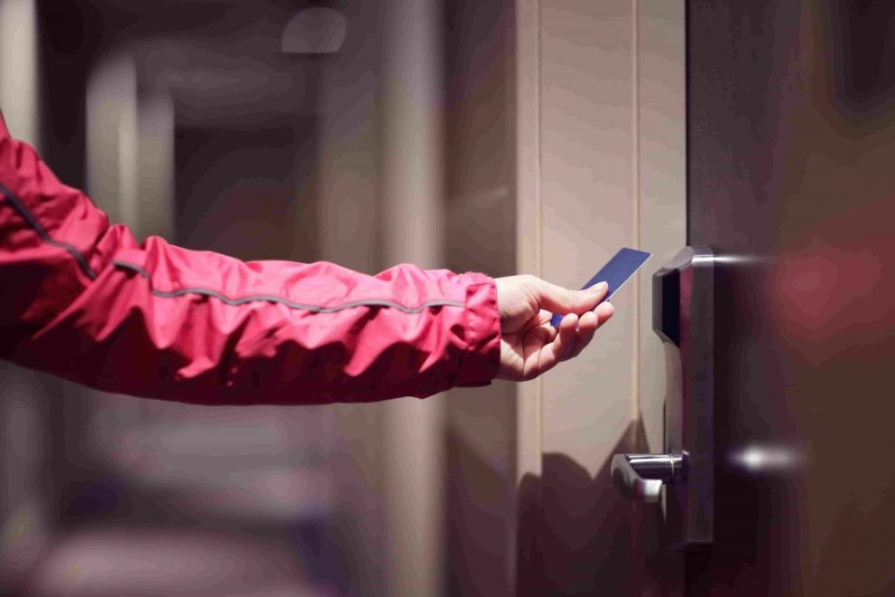 Access control security with keycard access to private areas